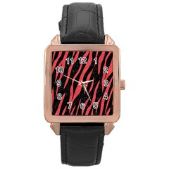 Skin3 Black Marble & Red Colored Pencil (r) Rose Gold Leather Watch