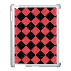 Square2 Black Marble & Red Colored Pencil Apple Ipad 3/4 Case (white)