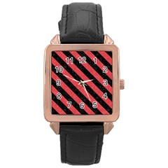 Stripes3 Black Marble & Red Colored Pencil Rose Gold Leather Watch