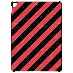 Stripes3 Black Marble & Red Colored Pencil (r) Apple Ipad Pro 12 9   Hardshell Case