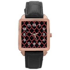 Tile1 Black Marble & Red Colored Pencil (r) Rose Gold Leather Watch