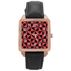Triangle1 Black Marble & Red Colored Pencil Rose Gold Leather Watch