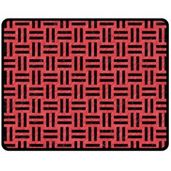Woven1 Black Marble & Red Colored Pencil Double Sided Fleece Blanket (medium)