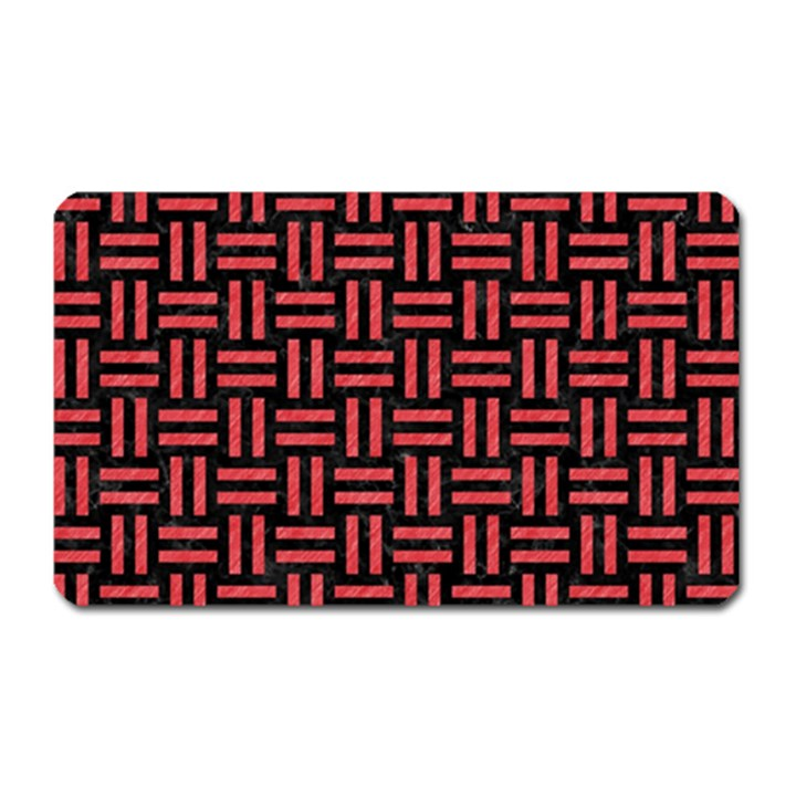 WOVEN1 BLACK MARBLE & RED COLORED PENCIL (R) Magnet (Rectangular)