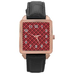 Woven2 Black Marble & Red Colored Pencil Rose Gold Leather Watch