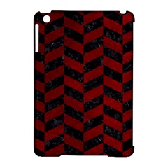 Chevron1 Black Marble & Red Grunge Apple Ipad Mini Hardshell Case (compatible With Smart Cover)