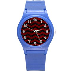 Chevron3 Black Marble & Red Grunge Round Plastic Sport Watch (s)