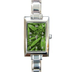 Marijuana Plants Pattern Rectangle Italian Charm Watch