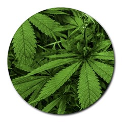 Marijuana Plants Pattern Round Mousepads