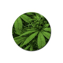Marijuana Plants Pattern Rubber Coaster (round)