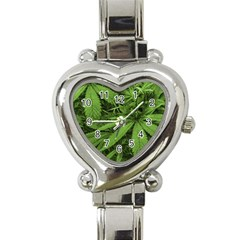 Marijuana Plants Pattern Heart Italian Charm Watch