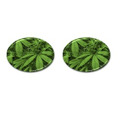 Marijuana Plants Pattern Cufflinks (oval)