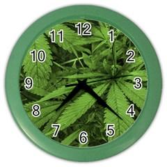 Marijuana Plants Pattern Color Wall Clocks