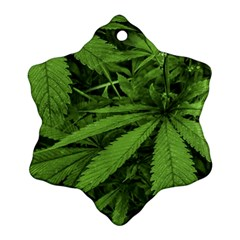 Marijuana Plants Pattern Snowflake Ornament (two Sides)