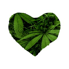 Marijuana Plants Pattern Standard 16  Premium Heart Shape Cushions