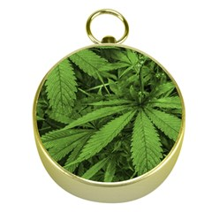 Marijuana Plants Pattern Gold Compasses