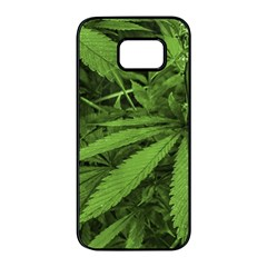 Marijuana Plants Pattern Samsung Galaxy S7 Edge Black Seamless Case
