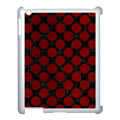 Circles2 Black Marble & Red Grunge (r) Apple Ipad 3/4 Case (white)