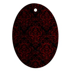 Damask1 Black Marble & Red Grunge (r) Oval Ornament (two Sides)