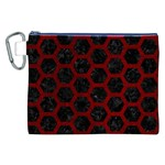 HEXAGON2 BLACK MARBLE & RED GRUNGE (R) Canvas Cosmetic Bag (XXL) Front