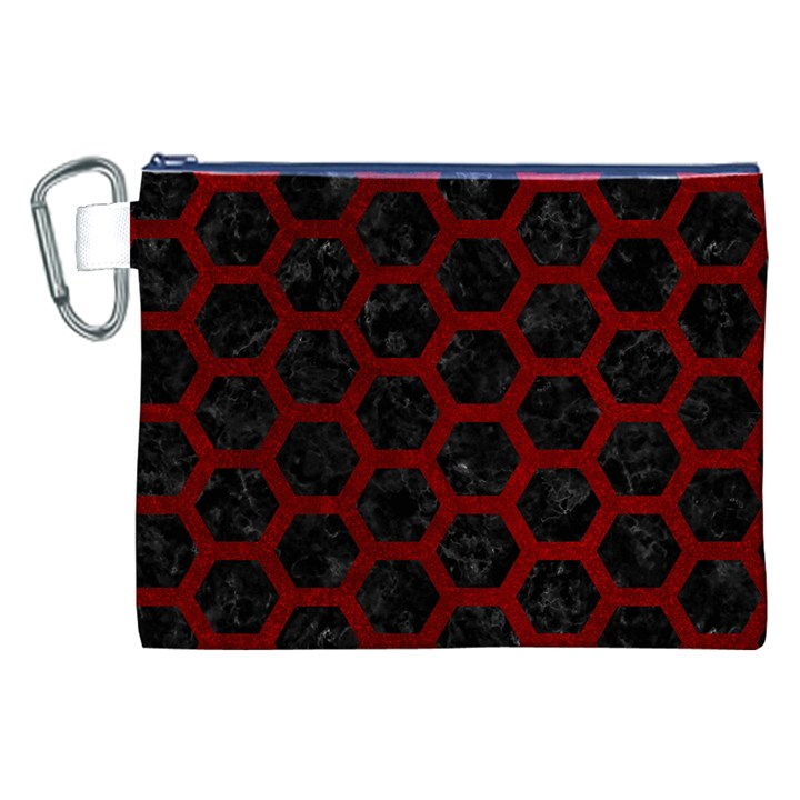 HEXAGON2 BLACK MARBLE & RED GRUNGE (R) Canvas Cosmetic Bag (XXL)