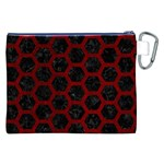 HEXAGON2 BLACK MARBLE & RED GRUNGE (R) Canvas Cosmetic Bag (XXL) Back