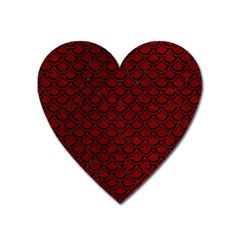 Scales2 Black Marble & Red Grunge Heart Magnet