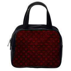 Scales2 Black Marble & Red Grunge Classic Handbags (one Side)