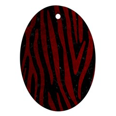 Skin4 Black Marble & Red Grunge Ornament (oval)