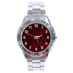 Skin4 Black Marble & Red Grunge (r) Stainless Steel Analogue Watch