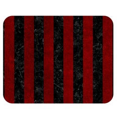 Stripes1 Black Marble & Red Grunge Double Sided Flano Blanket (medium)