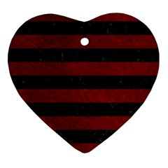 Stripes2 Black Marble & Red Grunge Heart Ornament (two Sides)
