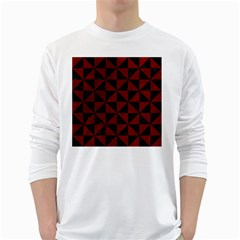Triangle1 Black Marble & Red Grunge White Long Sleeve T Shirts