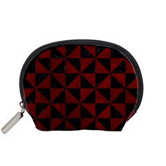 Triangle1 Black Marble & Red Grunge Accessory Pouches (small)