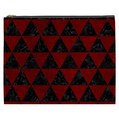 Triangle3 Black Marble & Red Grunge Cosmetic Bag (xxxl)