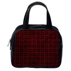 Woven1 Black Marble & Red Grunge Classic Handbags (one Side)