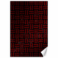 Woven1 Black Marble & Red Grunge (r) Canvas 24  X 36