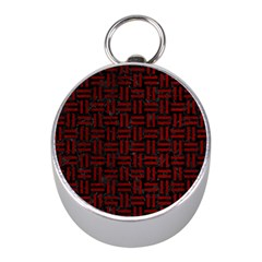 Woven1 Black Marble & Red Grunge (r) Mini Silver Compasses