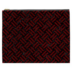 Woven2 Black Marble & Red Grunge (r) Cosmetic Bag (xxxl)