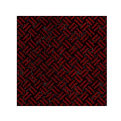 Woven2 Black Marble & Red Grunge (r) Small Satin Scarf (square)