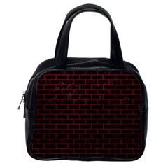 Brick1 Black Marble & Red Leather (r) Classic Handbags (one Side)