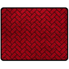 Brick2 Black Marble & Red Leather Fleece Blanket (medium)