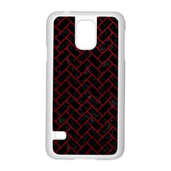 Brick2 Black Marble & Red Leather (r) Samsung Galaxy S5 Case (white)