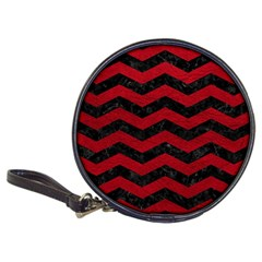 Chevron3 Black Marble & Red Leather Classic 20 Cd Wallets