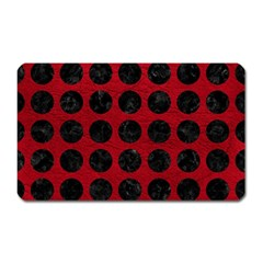 Circles1 Black Marble & Red Leather Magnet (rectangular)