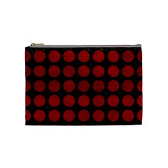 Circles1 Black Marble & Red Leather (r) Cosmetic Bag (medium)