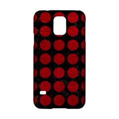 Circles1 Black Marble & Red Leather (r) Samsung Galaxy S5 Hardshell Case