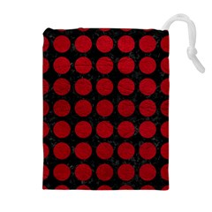 Circles1 Black Marble & Red Leather (r) Drawstring Pouches (extra Large)