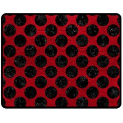 Circles2 Black Marble & Red Leather Fleece Blanket (medium)