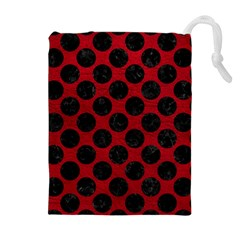 Circles2 Black Marble & Red Leather Drawstring Pouches (extra Large)
